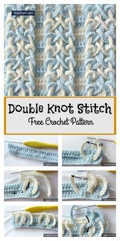 Double Knot Stitch Free Crochet Pattern #freecrochetpatterns #stitch #blanket