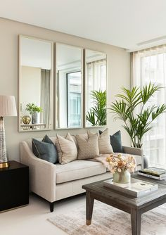 Top 5 Inexpensive Family Room ideas Living area detail a serene chic scheme beautifully designed by . Mirror Decor Living Room, Condo Living Room, Beige Living Rooms, Living Room Decor Cozy, Living Room Interior, House Rooms, Apartment Living, Living Area, Home Room Design
