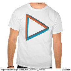 Impossible triangle in red, blue and gray. t-shirt. #Geek #Nerd #GeekDude
