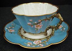 Japanese-que Antique Irish Belleek Tea Cup & Saucer ♥ Teapots And Cups, Teacups, Antique Tea Cups, Cuppa Tea, China Tea Cups, Tea Service, My Cup Of Tea, Vintage Tea, Vintage China