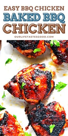 Baked Bbq Chicken Thighs, Oven Baked Bbq Chicken, Easy Bbq Chicken, Chicken Thigh Recipes, Lunch Recipes, Easy Dinner Recipes, Holiday Recipes, Breakfast Recipes, Delicious Meals
