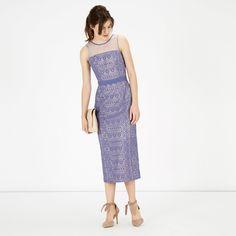 Warehouse, LACE PENCIL DRESS Light Blue 1