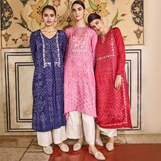 In vivid hues speckled with patterns that reflect the starry skies – celebrate the festivities this season with our kurtas. Pictured here: The Siyona Kurta The Avasa Kurta The Nadira Kurta Kurta Designs Women, Blouse Designs, Pakistani Outfits, Indian Outfits, Eid Outfits, Indian Attire, Indian Wear, Anarkali, Churidar