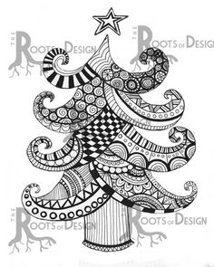 Christmas / Holiday Tree Instant Download Print. This beautiful and detailed zentangle inspired, doodle art, design was hand drawn turned into a