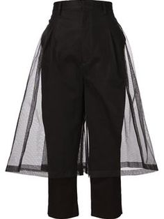 tulle overlay cropped trousers
