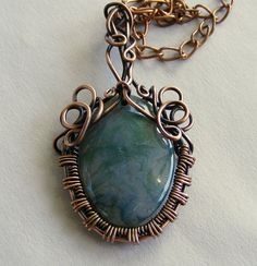 Green Moss Agate Stone Pendant Necklace, Copper Pendant, Wire Wrapped Pendant, Copper Jewelry, Wire Jewelry, Wire Pendant