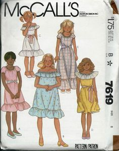 VTG McCall's 7619 Girls Off-The-Shoulder by DawnsDesignBoutique