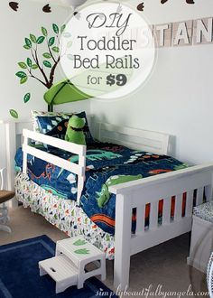 DIY Toddler Bed Rails Hello everyone! On Monday when I shared our DIY bed in this post I promised that I would share how I made the toddler bed rails. Guess The post DIY Toddler Bed Rails appeared first on Toddlers Diy. Diy Toddler Bed, Boy Toddler Bedroom, Big Boy Bedrooms, Toddler Rooms, Girl Room, Kids Bedroom, Toddler Beds For Boys, Toddler Bed Rails, Bedroom Ideas