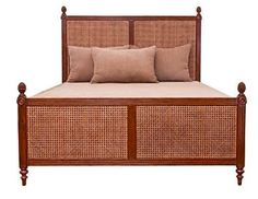 woven can tropical bed with pineapple finials
