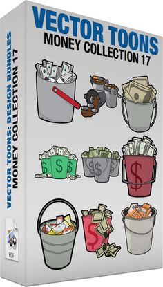 Money Collection 17:  Bundle of images includes the following:  Stacks of money inside a bucket A gray bucket with red handle filled with bundles of American dollar bills  Buckets of coins Three gray buckets with handle filled with lots of bronze silver and gold coins  A bucket of savings A gray bucket with handle filled with beige banknotes  Buckets loaded with a bunch of cash Three green buckets with the dollar sign print filled with bundles of American dollar bills  Buckets filled with…