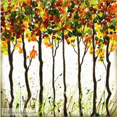 Ideas to create beautiful Fall Foliage Art using a brush or your finger to dab paint. Add some splattered paint to give it some extra texture and variety. Posted by My Flower Journal Autumn Painting, Autumn Art, Light Painting, Watercolor Flowers, Watercolor Paintings, Watercolors, Easy Watercolor, Paint And Drink, Finger Painting