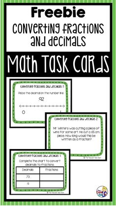 This FREE set of 24 Converting Fractions and Decimals task cards will help your students practice some important 4th grade math skills. This resource is Common Core aligned but will work well in any classroom (the cards have no CCSS notation).  Here's what it includes: 24 Task Cards A Recording Sheet An Answer Key  A Self-Checking Answer Sheet Teacher Notes
