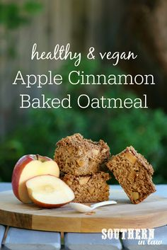 This Apple Cinnamon Baked Oatmeal Recipe is just waiting to be smothered with peanut butter or your favourite toppings to create the ultimate healthy breakfast. Healthy Oatmeal Recipes, Vegan Oatmeal, Oats Recipes, Vegan Recipes, Vegan Desserts, Healthy Snacks, Apple Cinnamon Oatmeal, Cinnamon Apples, Breakfast Bake