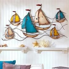 3-1/2' WIDE METAL SAILBOAT WALL ART SCULPTURE COASTAL NAUTICAL HOME DECOR