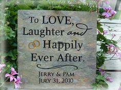 """12"""" x 12"""" Personalized Wedding Stone:  To love, laughter and happily ever after (w/names and date) 21106"""