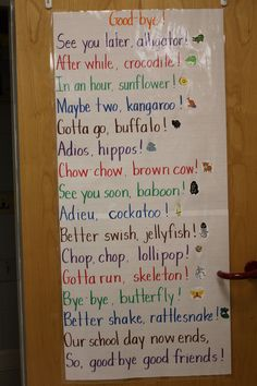 "I Will be adding this on our daycare wall and good-bye routine at the end of each day. Dr. Jean's song, ""Good-bye"" written as a poem and posted in my kindergarten classroom."