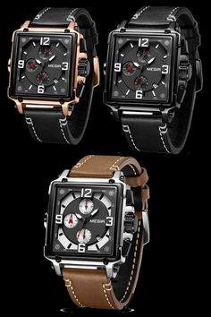 find these Awesome square watches with flexable soft leather strap and auto date #Quartz #Leather #Strap #Awesome #Square #Chronograph #Mens #Automatic