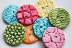 Colorful  Handmade Polymer Clay Buttons 8 by kimmieprout on Etsy