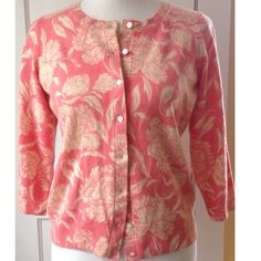 TALBOTS PETITE Pure Cashmere Cardigan NWOT Make this luxuriously soft coral pink and cream pure cashmere floral cardigan the newest addition to your wardrobe! 100% cashmere, 3/4 sleeves, crew neck. NWOT! Talbots Sweaters Cardigans