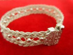 HÇ 1000 ayar gümüş burgu telle yapılmış sepet örgü bilezik