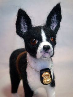 Needle Felted Boston Terrier by Laurie Valko