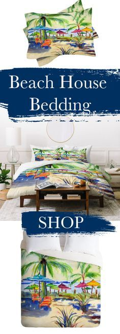 Create your dream bedroom with our coastal living beach house bedding. Complete with duvet cover and shams in every size. Bring the vacation retreat into your home. Beach Bedroom Decor, House Beds, Watercolor Design, Dream Bedroom, Coastal Living, Bedding Shop, Painted Furniture, Color Pop, Beach House