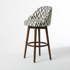 Saddle Bar Stool,  Love this style of bar stool! Fabric is okay but really it's the bucket style seat that I love! Perfect legs too. Waaaaay too expensive, but want this look.