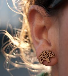 Oakland Tree Lasercut Bamboo Stud Earrings - $14  We make studs now!  Celebrate Oakland with these laser-cut bamboo stud earrings.  Designed and made for you in Oakland, California.