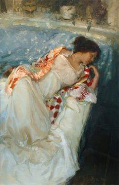 """Johanna Harmon Northamerican contemporary impressionist painter 'The slumber'. Figure Painting, Painting & Drawing, Portraits, Norman Rockwell, Art Themes, Beautiful Paintings, Figurative Art, Oeuvre D'art, Female Art"