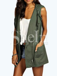 Shop Army Green Hooded Sleeveless Pockets Vest online. SheIn offers Army Green Hooded Sleeveless Pockets Vest & more to fit your fashionable needs.