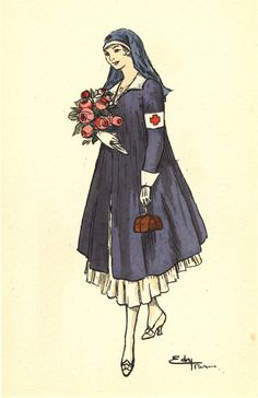 An illustration of a French Red Cross nurse portrayed as comforting beauty, with flowers and candy, ca. Pictures of Nursing: The Zwerdling Postcard Collection. National Library of Medicine Vintage Nurse, Vintage Art, Radiology Humor, Nurse Art, American Red Cross, Military Women, Wwi, Art World, Aurora Sleeping Beauty