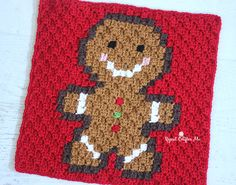 Crochet Gingerbread Man Pixel Square - Repeat Crafter Me