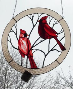 Large Cardinals Circle Stained Glass Panel for the Window  Either the center is open or this is painted glass... #StainedGlassPanels