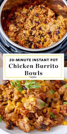 Instant Pot Chicken Burrito Bowls Pressure Cooking Recipe Chicken Burrito Bowl, Chicken Burritos, Burrito Bowls, Chicken Rice, Baked Chicken, Ip Chicken, Taco Bowls, Qdoba Burrito Bowl Recipe, Qdoba Rice Recipe