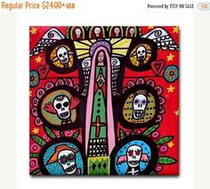 50% Off- Mexican Tree of Life Art Tile Day of the Dead Art Ceramic Coaster Tile…