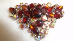1940s Garnet & Topaz Colored Glass Navettes/Cabochons/Aurora Borealis Crystal Stones Triangular Brooch by TimsSecretTreasures on Etsy