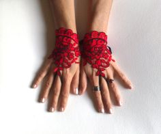 Red Black lace gloves french lace  bridal gloves by GlovesByJana, $25.00