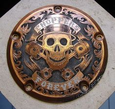 Paul Holbrecht: 'Choppers Forever' relief hand engraving in a H-D derby cover