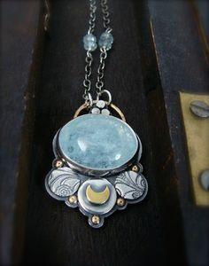 aqua luna ... aquamarine necklace by sirenjewels on Etsy