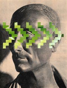 Collage #collage #paperweaving #pattern #geometry #weaving #art #design #cesar #grec #statue #monument