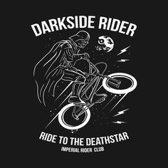 Shop Darkside Rider badass t-shirts designed by QBC as well as other badass merchandise at TeePublic. Bicycle Art, Bicycle Design, Bmx 20, Bike Logo, Bike Stickers, Bike Tattoos, Bike Illustration, Typographic Design, Cycling Art