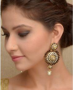 Enamel Base Floral Earrings with Pearl Drop