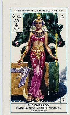 EMPRESS UPRIGHT is a deeply nurturing and caring card. You may be exploring your 'mother' role more deeply than you have before. More broadly, the Empress is a card of nurturing, caring and supporting. Cagliostro Tarot Card - The Empress