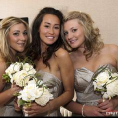 Ivory bridesmaids bouquet, silk flower bouquets to hire