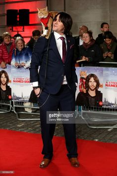 James Bowen and Bob the Cat attends UK Premiere of 'A Street Cat Named Bob' in aid of Action On Addiction on November 3, 2016 in London, United Kingdom.