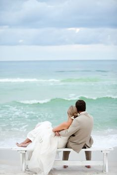 Sit down, relax and take a moment to enjoy this calming Florida destination wedding on Rosemary Beach from VUE Photography.  It's hard to feel stressed out with a soothing ocean setting and a gorgeous, vibrant couple in front of you.