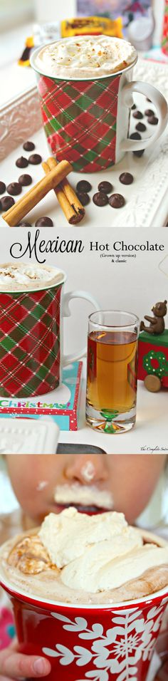 Mexican Hot Chocolate - 2 Ways ~ Homemade Mexican hot chocolate made using three simple ingredients: milk, dark chocolate, and cinnamon; topped with cinnamon whipped cream. Spike with cinnamon whiskey for the adults~ The Complete Savorist