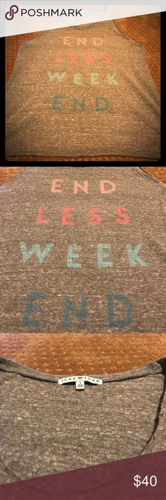 """Junk Food vintage tank Very cool vintage tank by Junk Food. Comfy tank w oversized armholes. Gray w rainbow """"endless weekend"""". Cut off style and shorter in back. Perfect w denim shorts. Junk Food Tops Muscle Tees"""