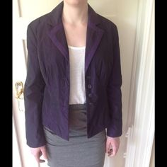 "SALE:Armani Collezioni Purple Jacket-light fill. Purple nylon jacket with faille ribbon trim on placket and cotton lining.  Light fill gives it soft modern shape but keeps it suitable for indoor wear as blazer.  Princess seaming with ""Armani"" button front.  No signs of wear. Matching Armani T in closet. Armani Collezioni Jackets & Coats Blazers"