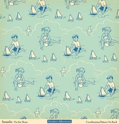 By the sea Beach Scrapbook Layouts, Scrapbook Paper, Scrapbooking, Indigo Prints, October Afternoon, Vintage Wrapping Paper, Bujo, Little Golden Books, Printable Paper